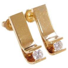 Vintage 18k Gold .46 ctw Diamond Earrings