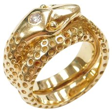 18k Gold Solid Snake Ring with Diamond Accent