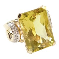 HUGE 18.75 ctw Lemon Citrine and Diamond Cocktail Ring Two-Tone 14k Gold