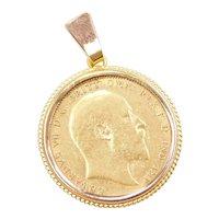 1902 British Sovereign Coin Pendant 14k & 22k Gold