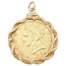 1903 1/2 Eagle Five Dollar 90% Gold Coin Pendant 14k Gold Bezel