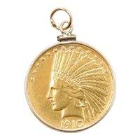 1910 $10 Indian Head Coin Pendant 14k & 22k Gold