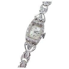 Art Deco 14k White Gold .50 ctw Diamond Watch