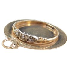 Art Deco 10k Gold Diamond Ring On 14k Gold Disk Charm ~ Mother