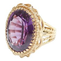 Vintage 14k Gold 19.95 Carat Lab-Grown Alexandrite Ornate Cocktail Ring