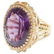 BIG Lab Alexandrite 19.95 Carat Ring 14K Gold Ring, Ornate Setting