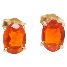 1.00 ctw Mexican Fire Opal Stud Earrings 14k Gold