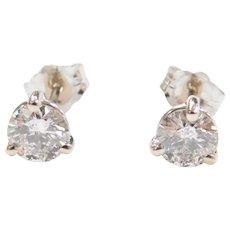 1.00 ctw Diamond Martini Stud Earrings 14k White Gold