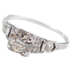Art Deco 18k White Gold 1.02 ctw Diamond Engagement Ring