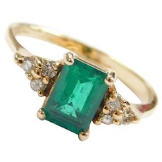 14k Gold 1.02 Natural Emerald and Diamond Ring