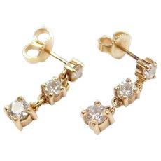 1.03 ctw Diamond Journey Dangle Earrings 14k Gold