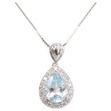 "18"" 1.04 ctw Aquamarine and Diamond Pear Halo Pendant on Box Chain 14k White Gold"