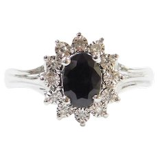 1.05 ctw Natural Sapphire and Diamond Halo Ring 14k White Gold