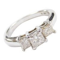 1.07 ctw Princess Cut Diamond Three Stone, Past, Present and Future Ring 14k White Gold