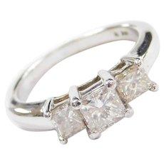 1.07 ctw Princess Cut Diamond Three Stone, Past, Present and Future Ring 14k White Gold