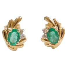 14k Gold 1.08 ctw Natural Kelly Green Emerald and Diamond Stud Earrings