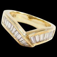 Vintage 18k Gold Baguette Diamond Bypass Ring
