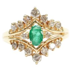 1.11 ctw Natural Emerald and Diamond Ring