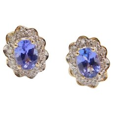 Vintage 14k Gold 1.11 ctw Tanzanite and Diamond Stud Earrings ~ Two-Tone