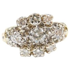 1930-40's 1.17 ctw Diamond Football Shaped Cluster Ring 14k Gold Two-Tone