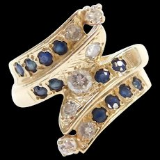 Vintage 14k Gold 1.18 ctw Sapphire and Diamond Bypass Ring