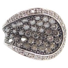 Modernist Sterling Silver 1.24 ctw Black and White Diamond Ring