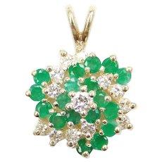 1.24 ctw Natural Emerald and Diamond Swirl 14k Gold Pendant