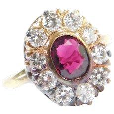 Edwardian 14k Gold 1.25 ctw Ruby and Diamond Halo Ring