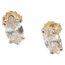 1.26 ctw Marquise Cut Diamond Stud Earrings 14k Yellow Gold