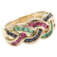 Vintage 14k Gold 1.30 ctw Natural Ruby, Sapphire and Emerald Woven / Braided Ring