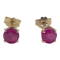 Vintage 14k Gold 1.30 ctw Natural Ruby Stud Earrings