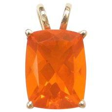 1.33 Carat Mexican Fire Opal Pendant 14k Gold