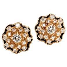 Victorian Revival 14k Gold Diamond Cluster Earrings with Black Enamel Detail & Scalloped Edges