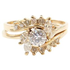 1.35 ctw Diamond Engagement Ring and Wedding Band 14k Yellow Gold