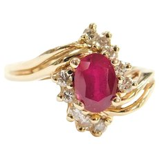 1.35 ctw Natural Ruby and Diamond Bypass Ring 14k Yellow Gold