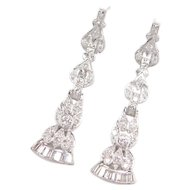 "1.36 ctw Diamond Platinum Earrings Circa 1940's 2"" Long Dangles"