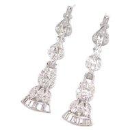 "1.36 ctw Diamond Platinum Earrings Circa 1940's 2"" Long Dangles"