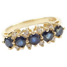 1.37 ctw Natural Sapphire and Diamond Ring 14k Gold