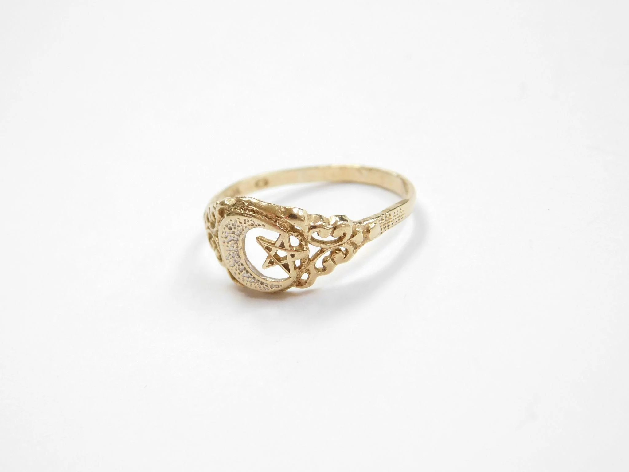 Vintage 10k Gold Crescent Moon And Star Ring Two Tone