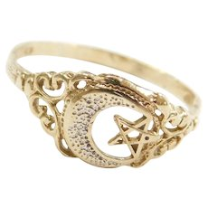 Vintage 10k Gold Crescent Moon and Star Ring ~ Two-Tone ~ Star of David