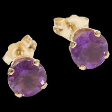 Vintage 14k Gold 1.40 ctw Amethyst Stud Earrings