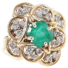 1.40 ctw Natural Emerald and Diamond Ring 14k Gold