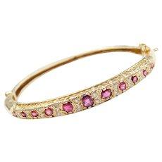 1.42 ctw Natural Ruby and Diamond Hinged Bangle Bracelet 14k Gold