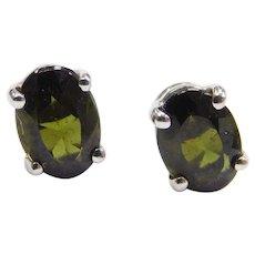 14k White Gold 1.42 ctw Green Tourmaline Stud Earrings
