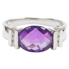 1.45 ctw Checkerboard Cut Amethyst and Diamond Ring 14k White Gold