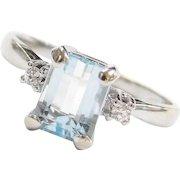 1.45 ctw Aquamarine and Diamond Ring 14k White Gold
