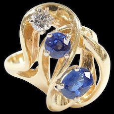 Vintage 14k Gold 1.45 ctw Natural Sapphire and Diamond Freeform Ring