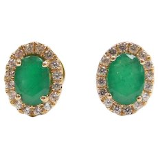 1.46 ctw Natural Emerald and Diamond Halo Stud Earrings 14k Yellow Gold