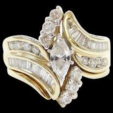 Vintage 14k Gold 1.49 ctw Diamond Marquise Wedding Ring