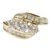 Vintage 14k Gold 1.49 ctw Diamond Three Stone Bypass Ring ~ Past, Present and Future